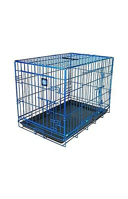 James & Steel My Pet Dog Crate, blue, 30-inch - Dogs Life car travel home cage