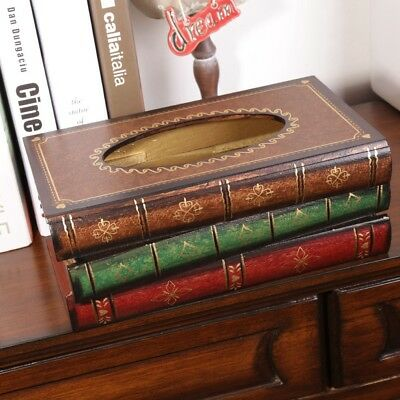 Wooden Tissue Box Paper Cover Retro Style Book Shape Napkin Holder Case AU Stock