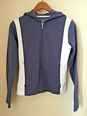 Vintage LUCY Slate Blue & White Hoodie Workout Athletic Jacket ~ Full Zip ~ SM