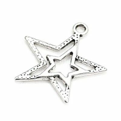 Packet of 20 x Antique Silver Tibetan 23mm Charms Pendants (Star) - (ZX00145) TP