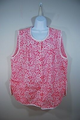 Woman's XL Cotton Snap Front Cobbler  Apron Sleeveless Pockets Collections ETC