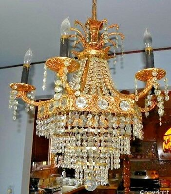 Vintage French Empire Style Crystal Basket Chandelier 6 + 3 Lights