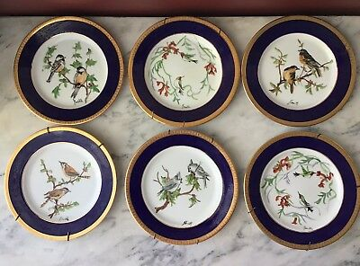 6 Vintage Cobalt Blue Porcelain Decorative Plates, Hand Painted, Signed J. Smith