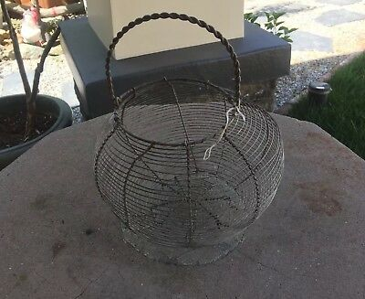 Antique Vintage Country French Wire Work Egg Basket Carrier Cottage Shabby Chic