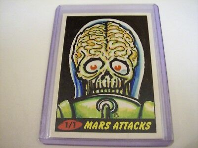 2012 Topps Heritage 1/1 Sketch Hand-Sketched Neil Camera Mars Attacks 7 Color