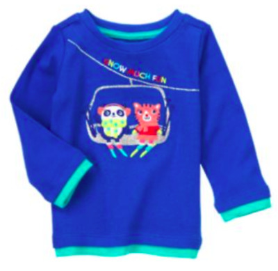 *new* Gymboree Little Girls Size 2T Color Happy Snow Much Fun Blue Top