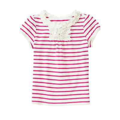 *new* Crazy8 By Gymboree Little Girls Size 5T Fuchsia Ruffle Striped Ss Tee Top