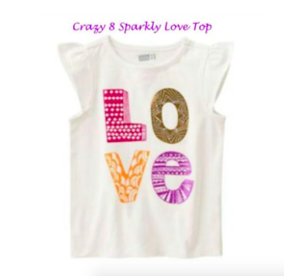 *new* Crazy8 By Gymboree Girls 2T Sparkly Glitter Colorful Valentine's Love Top
