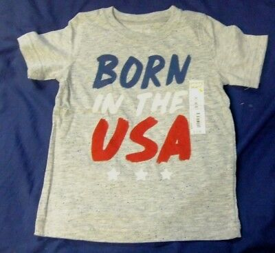Boys 24 Months Gray Patriotic BORN in USA T-Shirt NWT Short Sleeves