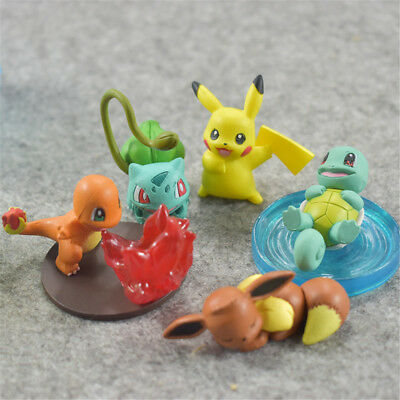 Pokemon Pikachu Charmander Squirtle 5PCS Action Figure Gift Doll Cake Topper Toy