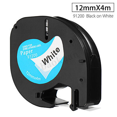 12mm x 4m paper Label Tape Compatible For DYMO Letra Tag 91200 Black on White !