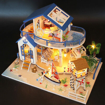 Modern Doll House Miniature DIY Kit Dollhouse With Furniture LED Light Gift