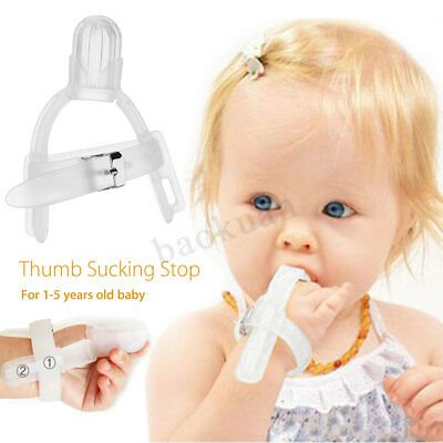 Stop Thumb Baby Kids Thumbsucking Sucking Finger Guard Protect Silicone Safe !