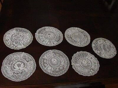 Lot of 6 Antique Normandy Lace Embroidery Doilies Fond de Bonnet