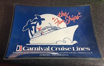 Vintage Carnival Cruise Line Glass Tip Tray