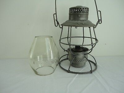 "Antique O.W.R.R&N.Co ""ADLAKE"" Railroad Lantern With Matching Signed Cage & Globe"