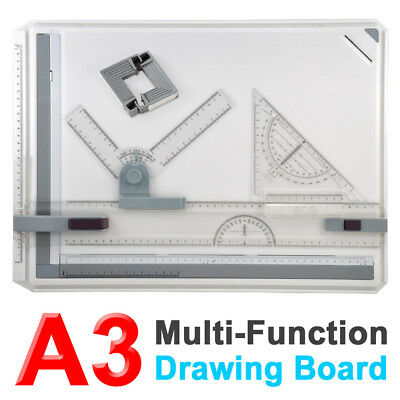 Office A3 Drawing Board Drafting Table Set With Magnetic Clamping Bar UK Used B