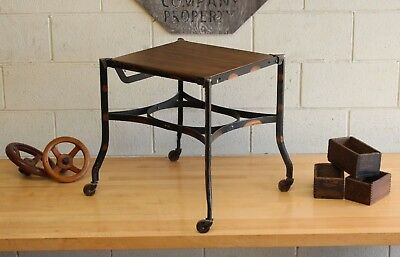 Vintage Antique Industrial Japanned Copper Flash Uhl Toledo Rolling Side Table