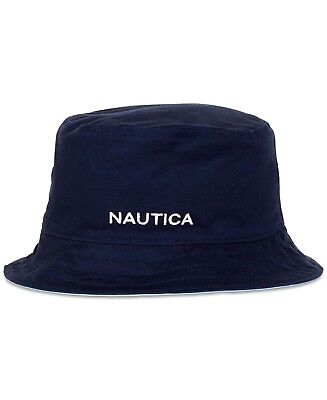 500b520bb13 Nautica Reversible Bucket Hat S M Navy Sky Blue Cotton Logo New w Tags MSRP