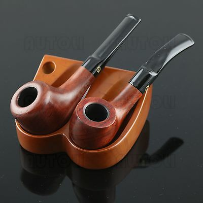 Holds 2 Pipes Solid Wood Tobacco/Smoking Pipe Stand/Rack/Holder