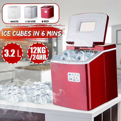 12KG/24hr Portable Ice Maker Cube Machine Quick Commercial Fast Home use 120W