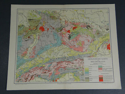 c.1890's Antique German Meyers Color Print Geological Map of Germany 1:3 750 000
