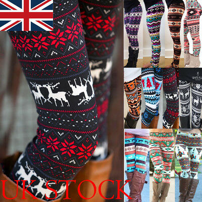 UK Lady Women Xmas Snowflake Reindeer Knitted Leggings Skinny Pants Trousers 2XL