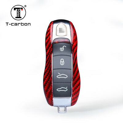 Red Real Carbon Fiber Key Case Keychain for Porsche Cayenne Cayman 911 981 991