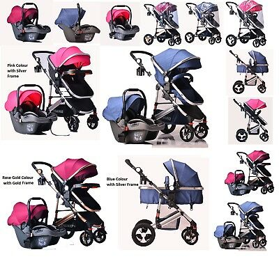 Kids Pram Travel System 3 in 1 Combi Stroller Buggy Baby Child Pushchair