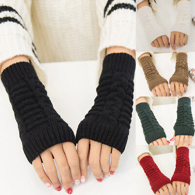Women Men Winter Knitted Stretch Elastic Warm Half Finger Fingerless Gloves