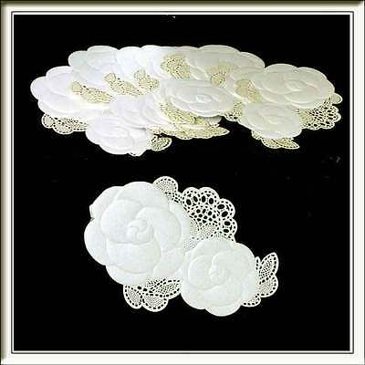 20 Ivory Double Flower Laser Cut Card Topper Embellishments Ideal Wedding Invite