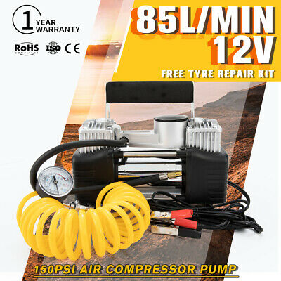 85L/MIN Car Air Compressor Portable 150PSI Tyre Inflator Pump 4x4 12V