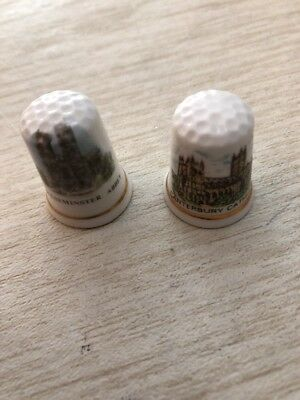 2 Westminister Abbey Canterbury Cathedral Thimbles JEAN MANSON & North Lodge