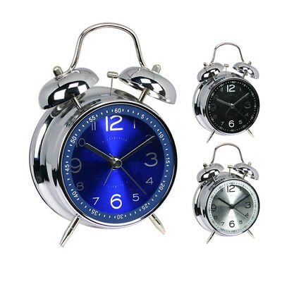 Twin Bell Alarm Clock Vintage Retro Loud Clocks Desk Bedside Night Light Clock