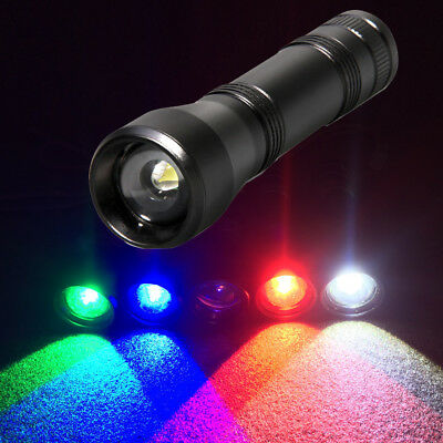 Red Green Blue White UV Zoom LED Flashlight 5 Modes Tactical Rechargeable Torch