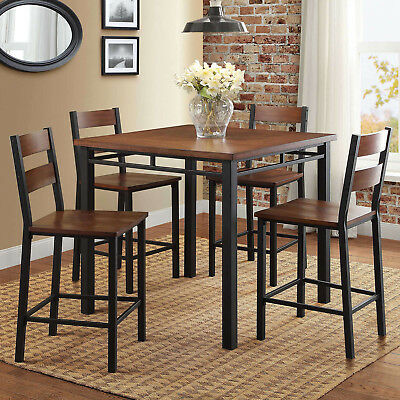 Counter Height Dining Room Set 5 Piece Table Chairs Kitchen Vintage Oak Wood