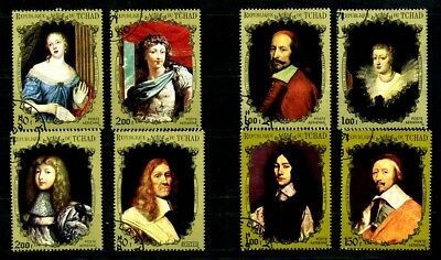 Chad stamps 1971 Personalities of the French Court pairs CTO