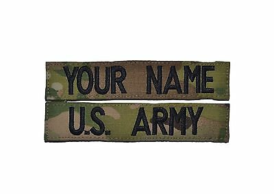 Multicam Name Tape CUSTOM 2 Piece OCP Scorpion Set w/ Fastener U.S. Army