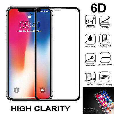 iPhone XR XS Max 6D Tempered Glass Screen Protector Full Cover For Apple