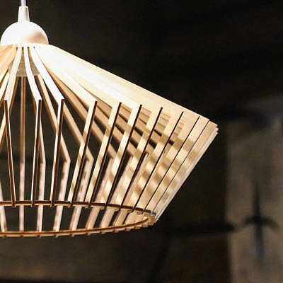 Wood Lamp Wooden Shade Hanging Pendant Light Ceiling