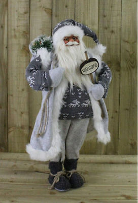 70cm Vintage Standing Father Christmas Santa Claus Ornament Decoration Grey Soft