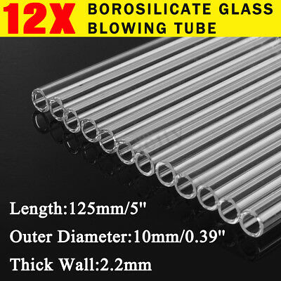 12Pcs Borosilicate Glass Tubing Pyrex Tube Blowing Blow 10mm x 2.2mm x 125mm