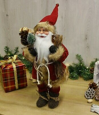 70cm Vintage Standing Father Christmas Santa Claus Ornament Decoration Red Soft