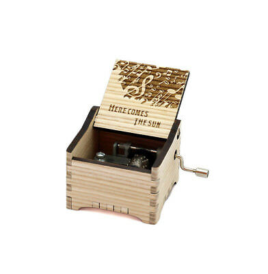 Personalized Hand Crank Wooden Music Box (The Beatles-Here Comes The Sun)