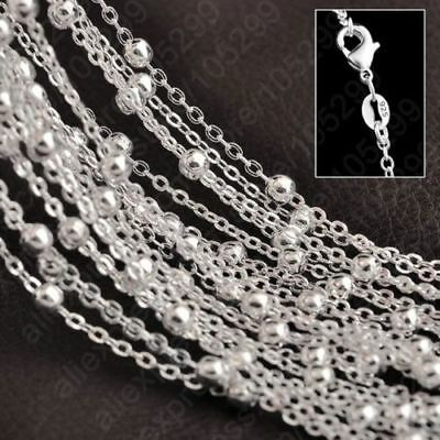 Genuine 925 Sterling Silver Rolo O Chain Necklace Belcher Bead Ball Trace 1mm