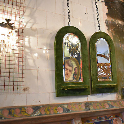 Pair of 19th Century Green Velvet Mirrors - Antique Bevelled Wall Hanging Mirror