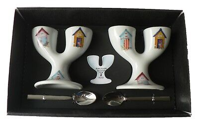 Beach Huts double egg cups - 2  ceramic egg cups with spoons gift boxed
