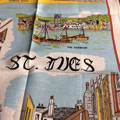 UNUSED Vtg kitchen tea towel white linen SOUVENIR St Ives points of interest