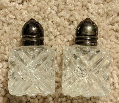 "Vintage Mini Cut Crystal Silver Plated Salt & Pepper Shakers 2"" Made In Japan"