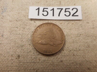 1857 Flying Eagle Cent - Nice Collector Grade Album Coin - Low Start - # 151752